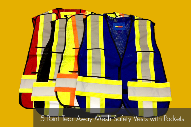 5 Point Tear Away Mesh Safety Vests with Pockets