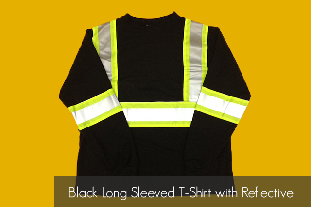 Black Long Sleeved T-Shirt with Reflective